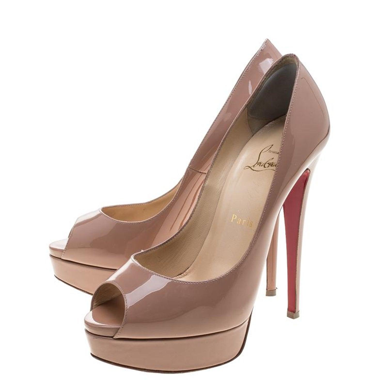 e77803a702a1 Christian Louboutin Nude Patent Leather Lady Peep Toe Platform Pumps Size  39 at 1stdibs