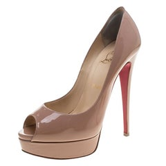 Christian Louboutin Nude Patent Leather Lady Peep Toe Platform Pumps Size 39