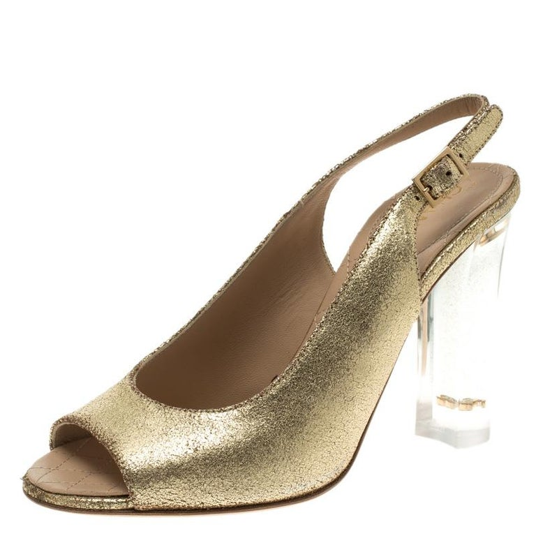 Chanel Gold Crackled Leather Glitter CC Lucite Heel Peep Toe Slingback  Sandals S For Sale