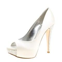 Gina White Satin Jenna Crystal Embellished Heel Peep Toe Platform Pumps Size 37.