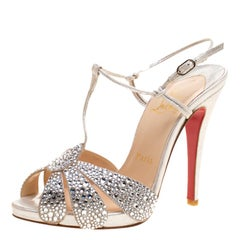 Christian Louboutin Metallic Silver Crystal Studded Suede Margi Diams Sandals Si