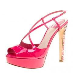 Dior Fuchsia Pink Patent Cannage Heel Cross Strap Platform Sandals Size 40