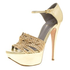 Gina Metallic Gold Leather Sheridan Crystal Embellished Platform Ankle Strap San