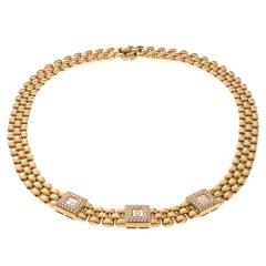Chopard Vintage Happy Diamond 18k Yellow Gold Choker Necklace