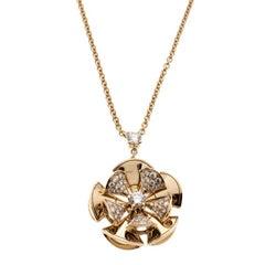 Bvlgari Diva's Dream Diamond 18k Rose Gold Flower Pendant Necklace