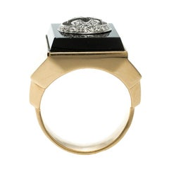 Gucci Icon Boule Onyx & Diamond 18k Yellow Gold Ring Size 58