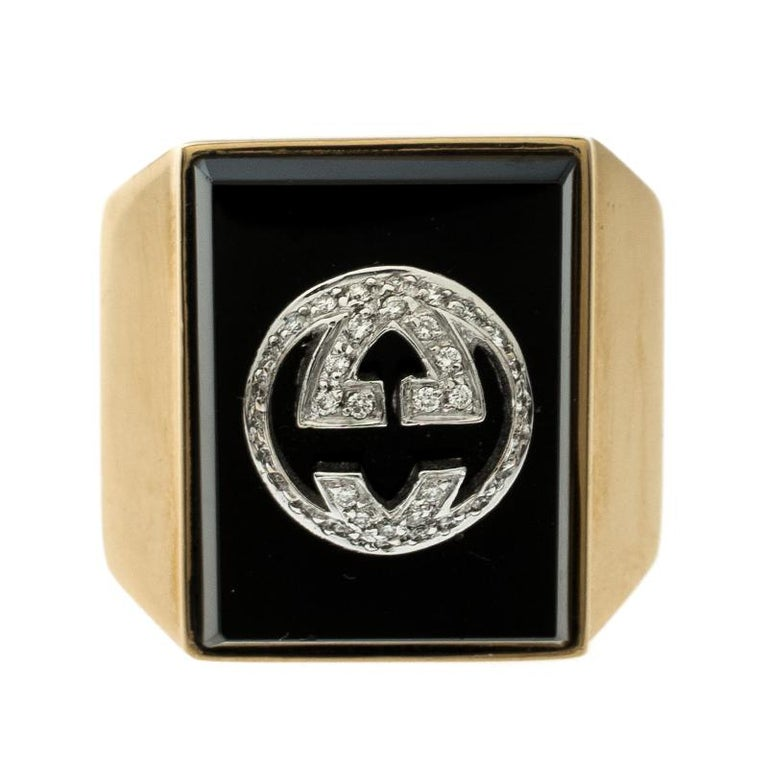 2c5309e29 Contemporary Gucci Icon Boule Onyx   Diamond 18k Yellow Gold Ring Size 58  For Sale