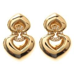 Bvlgari Double Heart Diamond 18k Yellow Gold Clip-on Drop Earrings