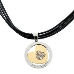 Bvlgari Tondo Heart Diamond 18k Yellow Gold Stainless Steel Pendant Cord Necklac