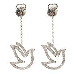 Chopard Happy Diamond Dove 18k White Gold Dangle Earrings