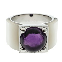 Van Cleef & Arpels Babylone Amethyst Mother of Pearl 18k White Gold Cocktail Rin