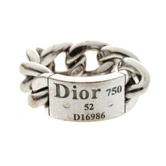 Dior Gourmette de Dior 18k White Gold Chain Link Band Ring Size 52