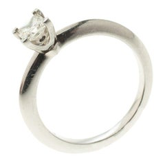 Tiffany & Co. 0.39 ct Princess Cut Diamond Solitaire Platinum Ring Size 52.5