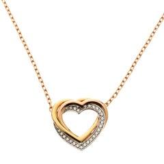 Cartier Trinity de Cartier Heart Three Tone 18k Gold & Diamonds Necklace