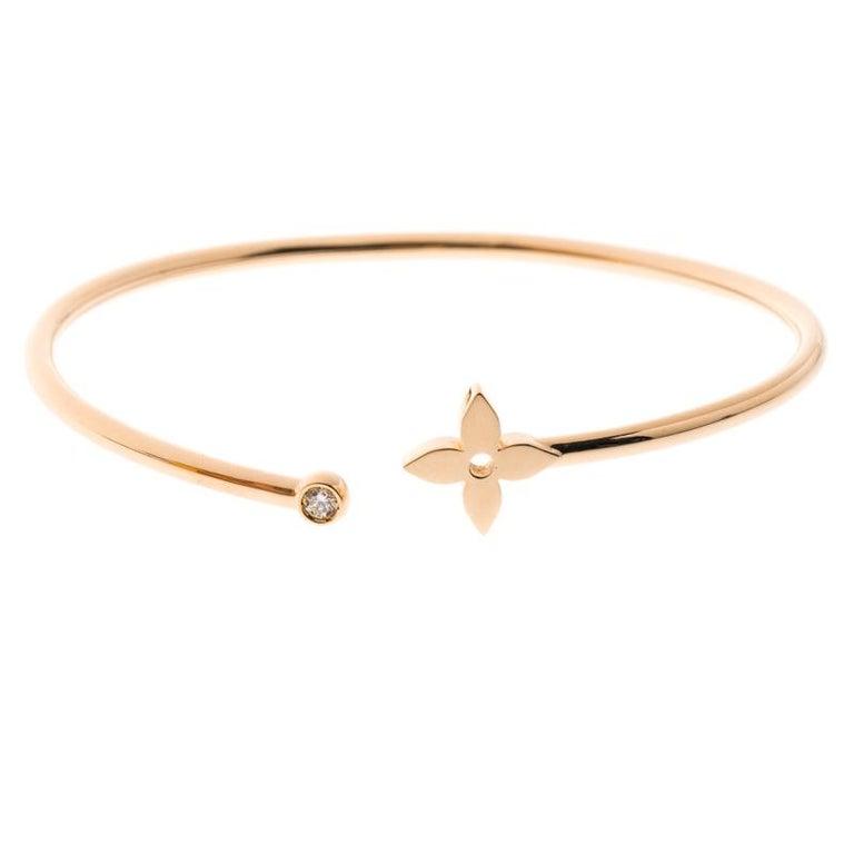 7de4fbdefefb Louis Vuitton Idylle Blossom Diamond 18k Rose Gold Twist Bracelet 16cm For  Sale