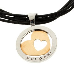 Bvlgari Tondo Heart 18k Gold & Stainless Steel Pendant Cord Necklace