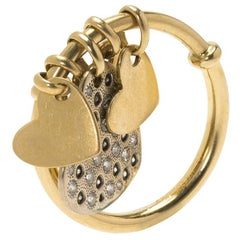 Dior Hearts Charms Diamonds & Yellow Gold Ring Size 51