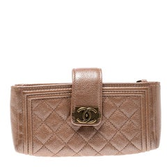 Chanel Metallic Peach Quilted Leather Smart Case