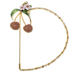 Dolce and Gabbana Cherry Crystal Gold Tone Pin Brooch
