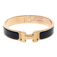 Hermes Clic Clac H Bleu Biarritz Enamel Rose Gold Plated Bracelet PM