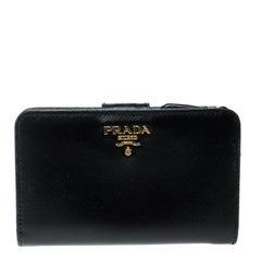 Prada Black Saffiano Metal Leather Zippy Wallet