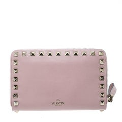 Valentino Pink Leather Rockstud Compact Wallet