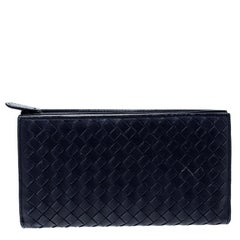 Bottega Veneta Blue Intrecciato Leather Trifold Continental Wallet