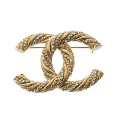 Chanel CC Crystal Embellished Textured Gold Tone Pin Brooch