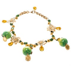 Dolce and Gabbana Fig Fruit Crystal Gold Tone Charm Statement Necklace