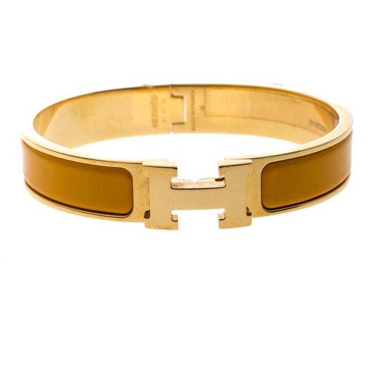 Hermes Clic Clac H Yellow Jaune Madras Enamel Gold Plated Narrow Bracelet Pm For