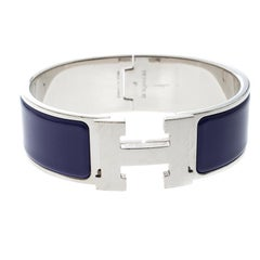 Hermes Clic Clac H Bleu Imperial Enamel Palladium Plated Wide Bracelet GM