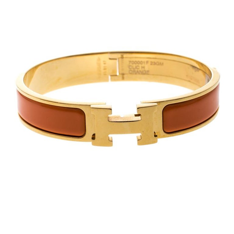 15b3a8bbcf9d62 Hermes Clic Clac H Orange Enamel Gold Plated Narrow Bracelet GM For Sale