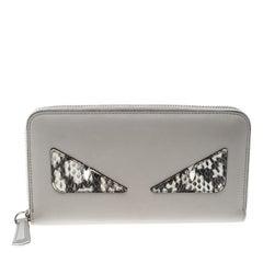 Fendi Grey Leather Monster Zip Around Wallet