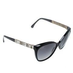 Chanel Black/Black Polarized 5309B Embellished Cat Eye Sunglasses