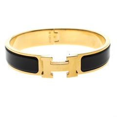 Hermes Clic Clac H Black Enamel Gold Plated Narrow Bracelet PM