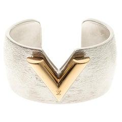 Louis Vuitton Essential V Colorama Textured Silver Tone Open Cuff Bracelet