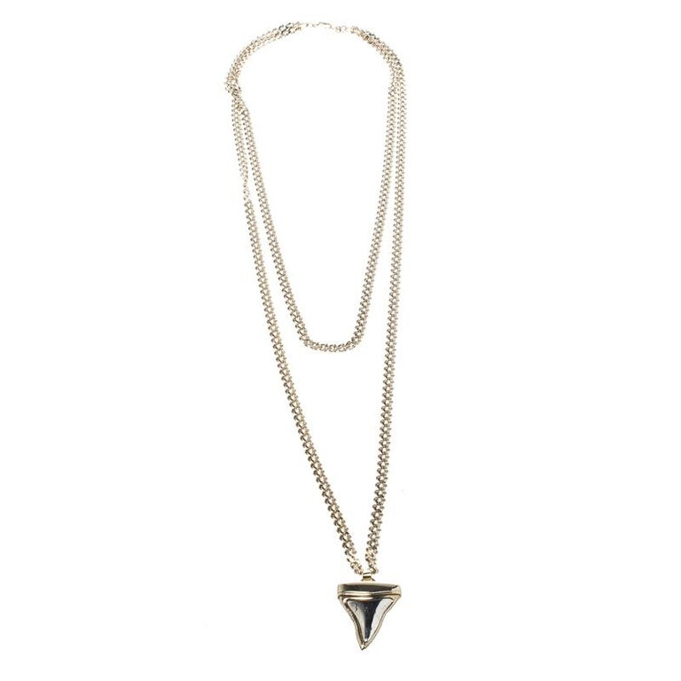 92970fcd6e2d5 Givenchy Small Shark Tooth Pendant Gold Tone Two Tier Chain Necklace