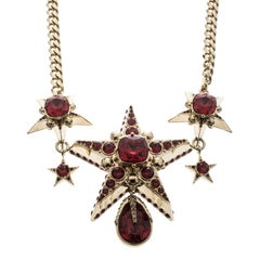 Alexander McQueen Jewelled Star Skull Red Crystal Gold Tone Necklace