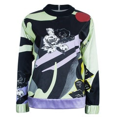 Prabal Gurung Printed Leather Sweatshirt Top S