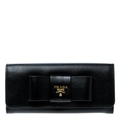 Prada Black Saffiano Fiocco Leather Bow Continental Wallet