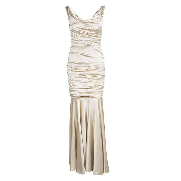 Dolce & Gabbana Beige Satin Ruched Sleeveless Gown M For Sale