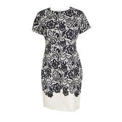 Dolce and Gabbana Monochrome Lace Print Short Sleeve Sheath Dress M