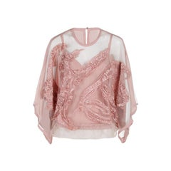 Elie Saab Pink Semi-Sheer Embroidered Top S