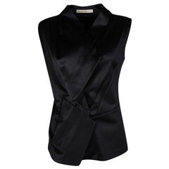 Balenciaga Black Satin Sleeveless Asymmetric Vest M