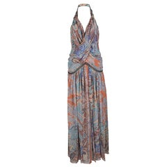 Etro Multicolor Printed Silk Draped Embellished Waist Maxi Dress S