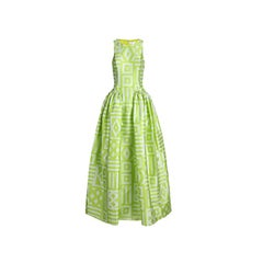 Christian Siriano Lime Geometric-Print Gown S