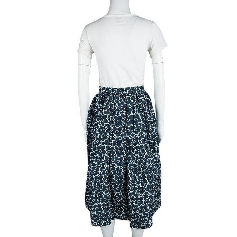f1d33d990dc4 Black Miu Miu Blue Floral Printed Silk Gathered High Waist Midi Skirt S For  Sale