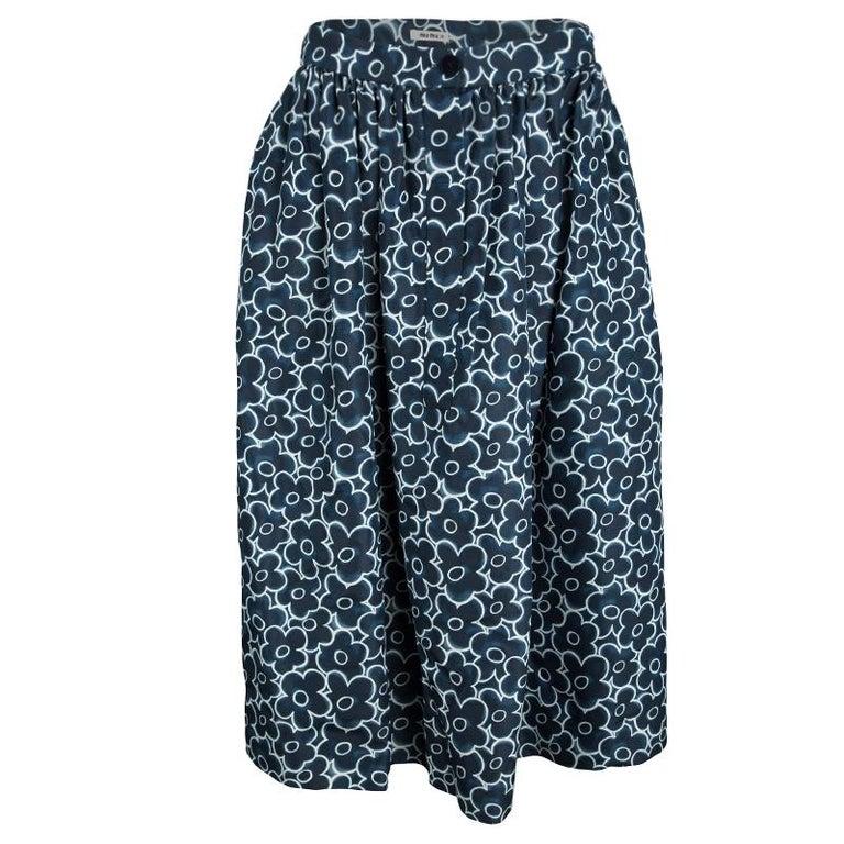 5bdc2336978c Miu Miu Blue Floral Printed Silk Gathered High Waist Midi Skirt S For Sale