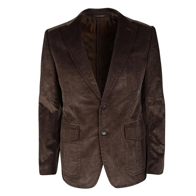 2bae9ac3e0a2cf Gucci Brown Regular Fit Corduroy Blazer M at 1stdibs