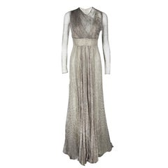 Roberto Cavalli Grey Animal Printed Silk and Tulle Draped Long Sleeve Gown M